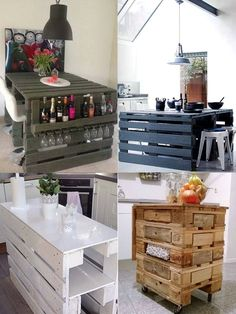 cocina muebles con palets reciclados Pallet Crafts, Diy Pallet Projects, Recycled Furniture, Pallet Furniture, Indian Home Decor, Diy Home Decor, Palette Deco, Sweet Home, Home Office Design