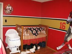 Custom made baby nursery crib bedding set m w nfl for 49ers room decor