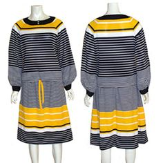 Vintage 1960s  Stripes Skirt & Top Dress 2 Pc Outfit  #Unbranded