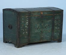 HUGE Russian Original Antique Painted Trunk DATED 1871