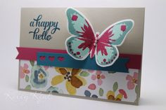 A Happy Hello Butterfly - Three Ways. Watercolour Wings bundle, English Garden DSP & Tin of Cards stamp set. Kelly Kent - mypapercraftjourney.com.