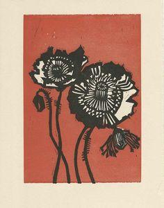 poppies - linoleum block print - Patricia Wakida, U.S.A.