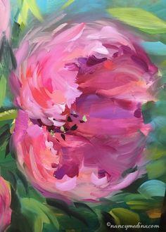 Be Free Pink Tulips - Nancy Medina Art Videos and Classes, painting by artist Nancy Medina
