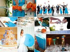 and this is our real turquoise and tangerine wedding collage