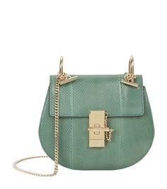 Chloé Mini Drew Python Shoulder Bag in Soft Green | Harrods