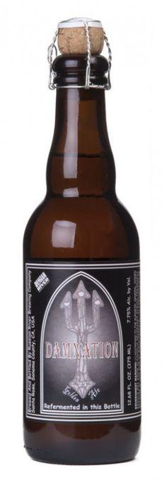 Cerveja Russian River Damnation , estilo Belgian Golden Strong Ale, produzida por Russian River Brewing, Estados Unidos. 7% ABV de álcool.
