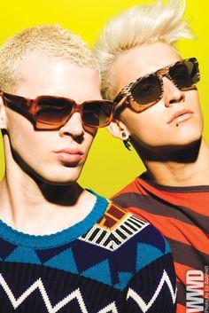 Men's Wear Trend: Shady  Prada's sunglasses. Burberry Prorsum wool sweater. Alain Mikli's sunglasses. Lanvin cotton shirt.  Source: wwd.com  #Menswear #Fashion #Prada #Burberry Prorsum #Lanvin #AlainMikli #fashion