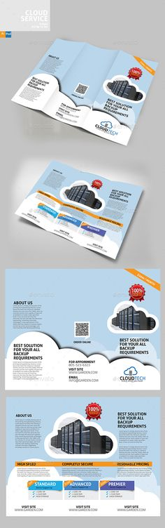 Cloud Services TriFold Brochure Design Template PSD, Vector EPS, AI Illustrator