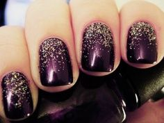 Nice fall nail design with glitter