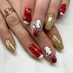 Beautiful red Christmas nails with gold glitter nails and an accent reindeer nail design! Christmas Gel Nails, Christmas Nail Designs, Holiday Nails, French Nail Designs, Acrylic Nail Designs, Snowflake Nail Design, French Acrylic Nails, French Nails, Cherry Nails