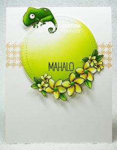 - MAHALO by Tammie E - Cards and Paper Crafts at Splitcoaststampers Tiki Party, Green Theme, Mft Stamps, Flower Doodles, Island Girl, Penny Black, Copics, Copic Markers, Crafty Projects