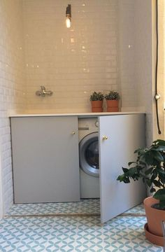 Interior Living Room Design Trends for 2019 - Interior Design Laundry Room Cabinets, Laundry In Bathroom, Bathroom Towels, Laundry Nook, Bathroom Gray, Bathroom Wall, Bad Inspiration, Bathroom Inspiration, Bathroom Ideas