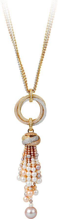 Trinity de Cartier necklace White gold, yellow gold, pink gold, pearls, diamonds