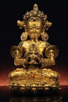 丹薩替寺造像 - en.seercn.com Central Tibet, school of Densatil Monastery Late 14th century H.45cm Gilt copper inlaid with gem, cast in one piece