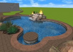 Image result for water and fire pool features
