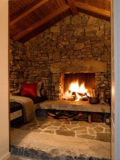 Cabin Fireplace Design- Great remodeling idea for the lower level fireplace nook/ seating area. And I think I may know someone who can make concrete blenches to match the stone fireplace! - home me Cabin Fireplace, Fireplace Design, Inglenook Fireplace, Stone Fireplaces, Fireplace Ideas, Fireplace Seating, Mantel Ideas, Rustic Fireplaces, Wall Fireplaces