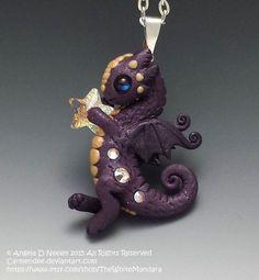 Cute Purple Dragon with Star handmade ooak necklace #Handmade #Pendant