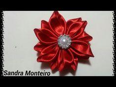Flor de tecido de cetim usando círculos - YouTube