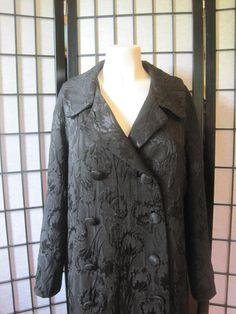 Vintage 1960s Black Evening Coat Brocade Style Large by girlgal6, $65.00