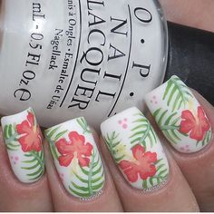 Tropical mani by @carlysisoka! In love! Carly is using our Hibiscus Nail Decals as Stencils. Find them at: snailvinyls.com