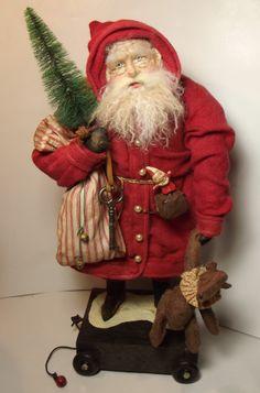 Handmade Santa Claus~Teddy Bear & Jack-in-the-Box by Kim Sweet~Kim's Klaus~Vintage Red Wool, Vintage Brass Key & Bottle Brush tree