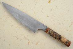 Chef's Knife (Gyuto) with Sindora, Amboyna Burl and Damascus (7-3/4 in.) Mareko Maumasi