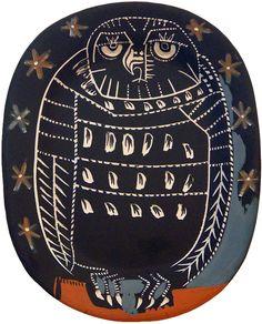 Picasso Ceramic Madoura Sculpture Sculpture Signed, Mat Owl (A.R.284), 1955