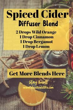 Discover Over 100 Smart and Practical Ways To Use Your Essential Oils - Christmas Essential Oil Diffuser Blends - Spiced Cider Essential Oils Christmas, Fall Essential Oils, Cinnamon Essential Oil, Essential Oil Diffuser Blends, Pure Essential, Bergamot Essential Oil Uses, Edens Garden Essential Oils, Essential Oil Cleaner, Essential Oil Mixtures
