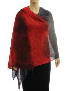 Lagenlook knit linen shawl wrap cape - red grey - Artikeldetailansicht - CLASSYDRESS Lagenlook Art to Wear Women's Clothing