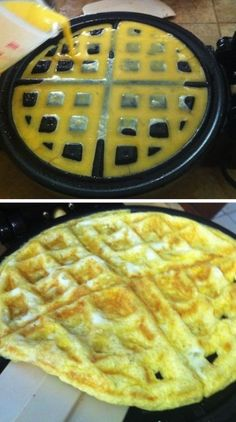 17 Unexpected Foods You Can Cook In A Waffle Iron (LOL! Waffle irons are notoriously hard to clean. Yeah, brownie waffles would be cute, but such a hassle! Most of the ideas don't even utilize the unique waffle surface.) OMG I NEED A WAFFLE IRON NOW! Breakfast And Brunch, Breakfast Recipes, Breakfast Pancakes, Brunch Recipes, Breakfast Ideas, Think Food, Love Food, Waffle Maker Recipes, Eggs In Waffle Maker