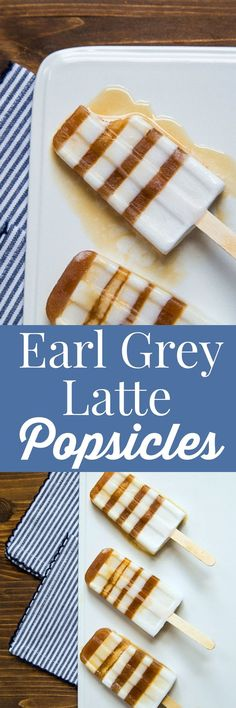 Starbucks copycat London Fog (Earl Grey Tea Latte) made into popsicles. Starbucks Nachahmer London Fog (Earl Grey Tea Latte) zu Eis am Stiel No Cook Desserts, Frozen Desserts, Summer Desserts, Dessert Recipes, Cheesecake Recipes, Yummy Recipes, Starbucks, Dessert For Two, Pallets