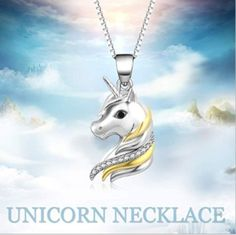 Unicorn Necklace, Horse Necklace, Rhinestone Jewelry, Sterling Silver Jewelry, Jewelry Gifts, Jewelry Necklaces, Jewellery, Birthday Gifts For Girls, Gold Pendant Necklace