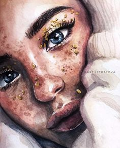 Katya Miro from @ art.istratova watercolor Katya Miro from @ art.istratova watercolor a L'art Du Portrait, Portrait Paintings, Watercolor Portraits, Watercolor Paintings, Portrait Tattoos, Watercolor Portrait Tutorial, Painting Portraits, Art Sketches, Art Drawings