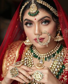 """"""" The less is always more"""" so if you believe in this concept then we'd recommend you wear Nathni Style Nath or Nose ring to give you a subtle yet vibrant look. The small stud is known as Laung & it looks equally attractive and vibrant as big nose rings. Indian Bridal Photos, Indian Bridal Fashion, Indian Bridal Outfits, Bridal Dresses, Bridal Pictures, Asian Bridal, Indian Dresses, Bengali Bridal Makeup, Indian Wedding Makeup"""