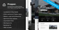 Propper - Responsive Architecture Template by ThemeStarz Propper ¨C Architecture and Real Estate One Page Landing PagePropper is beautiful and professional looking real estate & architecture onepage landing page HTML template. Promote your developing project or your architecture agency.