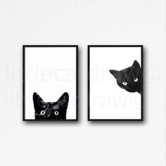 Black Cat Print Set Of 2 Watercolor Prints Cat Art Illustration Cat Lover Gift Black White Minimalist Living Room Decor Wall Art Prints by Littlecatdraw on Etsy https://www.etsy.com/listing/244755866/black-cat-print-set-of-2-watercolor