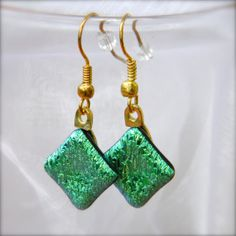 Green Envy Dichroic Fused Glass Earrings by CCDesignsJewelry