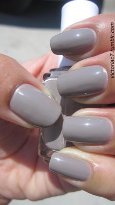 Essie Chinchilly - I'm wearing this now, and like it. Its a brown-ish kind of grey, and a great winter color.