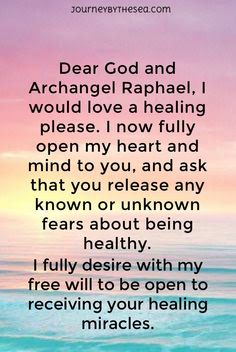 Archangel Raphael healing #Raphael #angel #archangelraphael #healing #spiritual #guidance #god #pray Journeybythesea.com