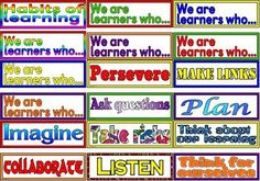 Based on the 'In this classroom we are...' set - Free 'Habits of Learning' display.