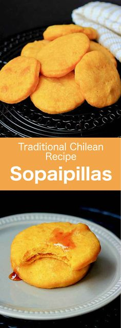 Sopaipillas are pumpkin-based flour tortillas fried in oil or butter that are typical in Chile, and have other variants throughout Latin America. via Food Recipes Healthy, Food Recipes Homemade South American Dishes, Latin American Food, Latin Food, Plats Latinos, Chilean Recipes, Chilean Food, Taco Bell, Recipes, Food Cakes