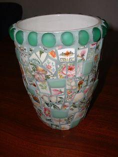 Mosaic Vase - broken china and tumbled Jadite.