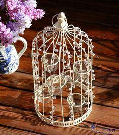 Wrought Iron Romantic Bird Cages White Belt 6 Glass Cup Storm ...
