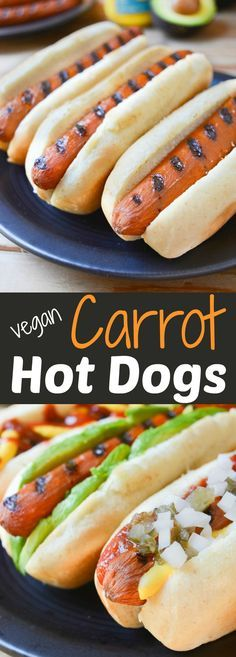 Carrot Hot Dogs can be topped any way you like. Plus theyre grillable which make them great for vegan summer BBQ's! Leave the unhealthy mock meats at the store and slide a carrot between those buns instead! Grilling stovetop and oven directions included! Dog Recipes, Grilling Recipes, Whole Food Recipes, Cooking Recipes, Healthy Recipes, Protein Recipes, Grilled Vegan Recipes, Grilling Tips, Vegan Foods