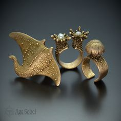bronze clay rings by AGA SOBEL