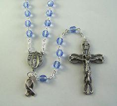 Periwinkle Awareness Rosary by FaithHopeAndBeads on Etsy