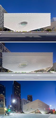 The Broad art museum in Los Angeles, California, is covered in a perforated 'veil' that provides filtered light to the museum throughout the day and creates a skeletal system that protects the vault of storage and archives located inside the museum.