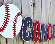 This Baseball Concessions banner is sure to be a hit at your little sluggers baseball party. Banner is in alternating layers of high quality and heavy 90-110 card stock in navy, red and white and strung together with brown twine for a unique touch. Letters are die-cut and measure approximately 5 inches tall. Length of banner depends on spacing and wording. Banner format are as follows unless otherwise specified. Choose your selection from the BANNER MESSAGE drop-down menu. Layout for…
