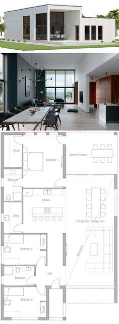 Modern House Plans, Contemporary House Plans, # Home Plans - Architecture House Plans Modern Minimalist House, Minimalist Architecture, Modern House Design, Minimalist Bedroom, New House Plans, Dream House Plans, Small House Plans, Modern Bungalow House Plans, Bungalow Decor
