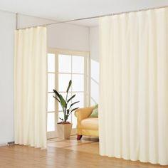 突っ張り&幅伸縮式カーテンで、広いお部屋もサッと目隠し間仕切り。不要な時は開いておけば、開放感のある空間に。リビングダイニングや子供部屋を2人用にサッと間仕切り!カーテンの色も5色から選べます。